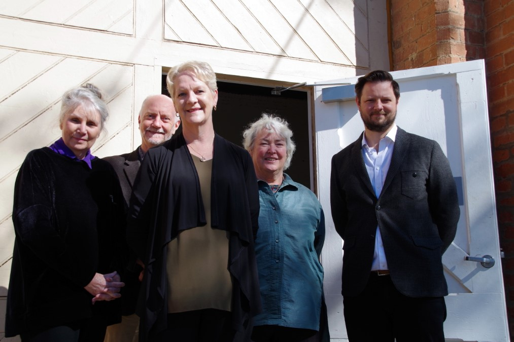 Member for Bendigo West Maree Edwards with Castlemaine State Festival chair Julie Millowick, chair of the goods shed committee Bill Forrest, Mount Alexander Shire Council Mayor Bronwen Machin and festival director Glyn Roberts at the state government funding announcement last week.