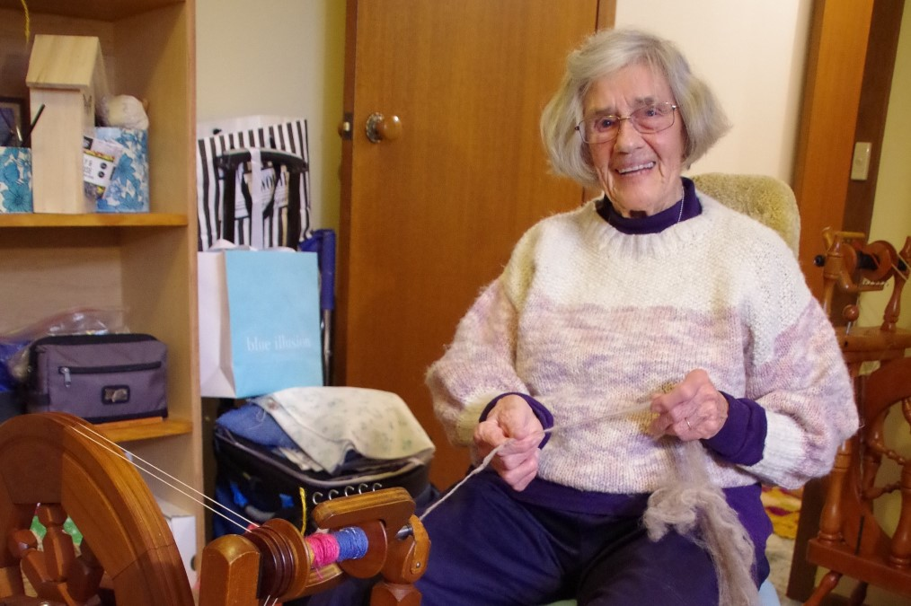 Dot Henshall at her spinning wheel at her home in Campbells Creek