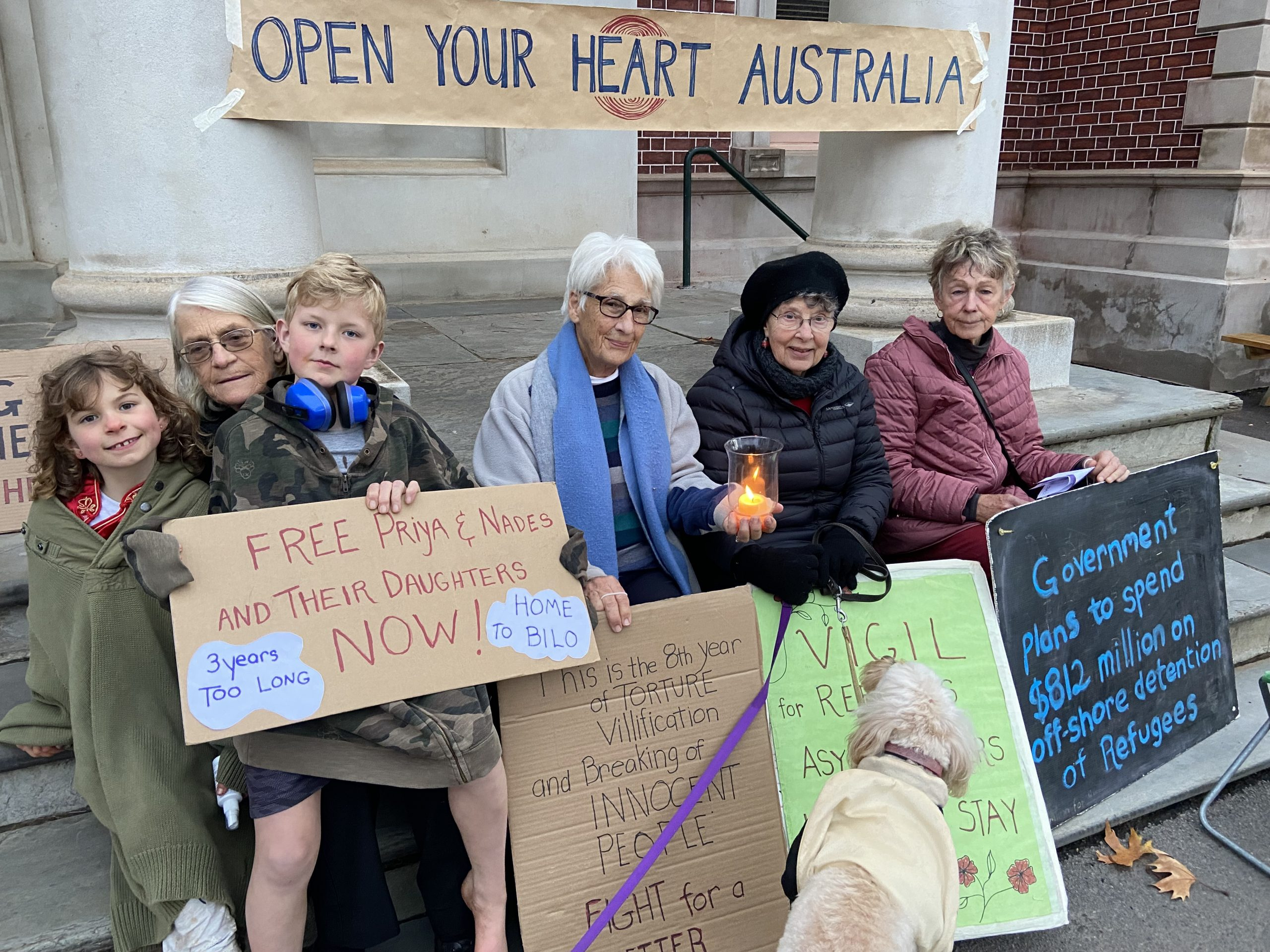 Some of the faithful Rural Australians for Refugee Castlemaine members are pictured at their weekly vigil on Wednesday evening.