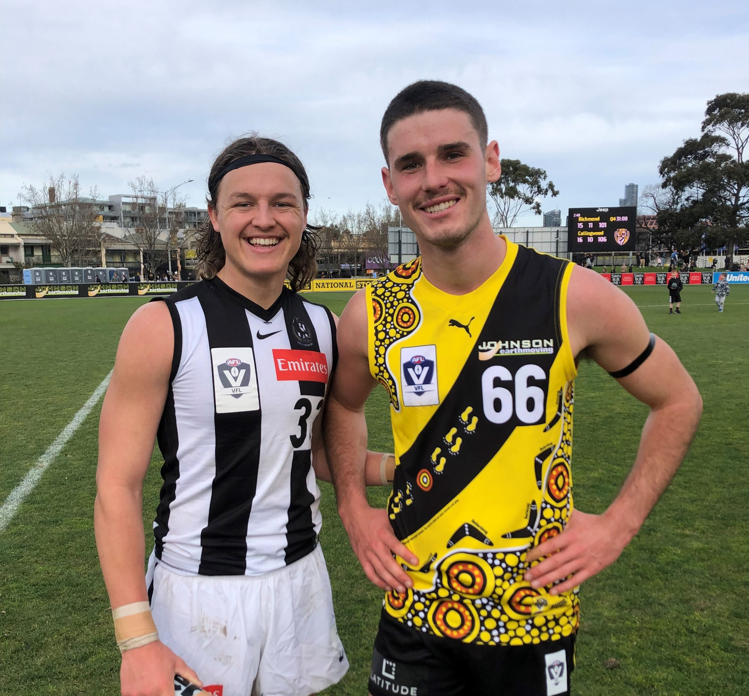 Magpie Jack Ginnivan recently lined up against mate and fellow VFL player Bailey Henderson.