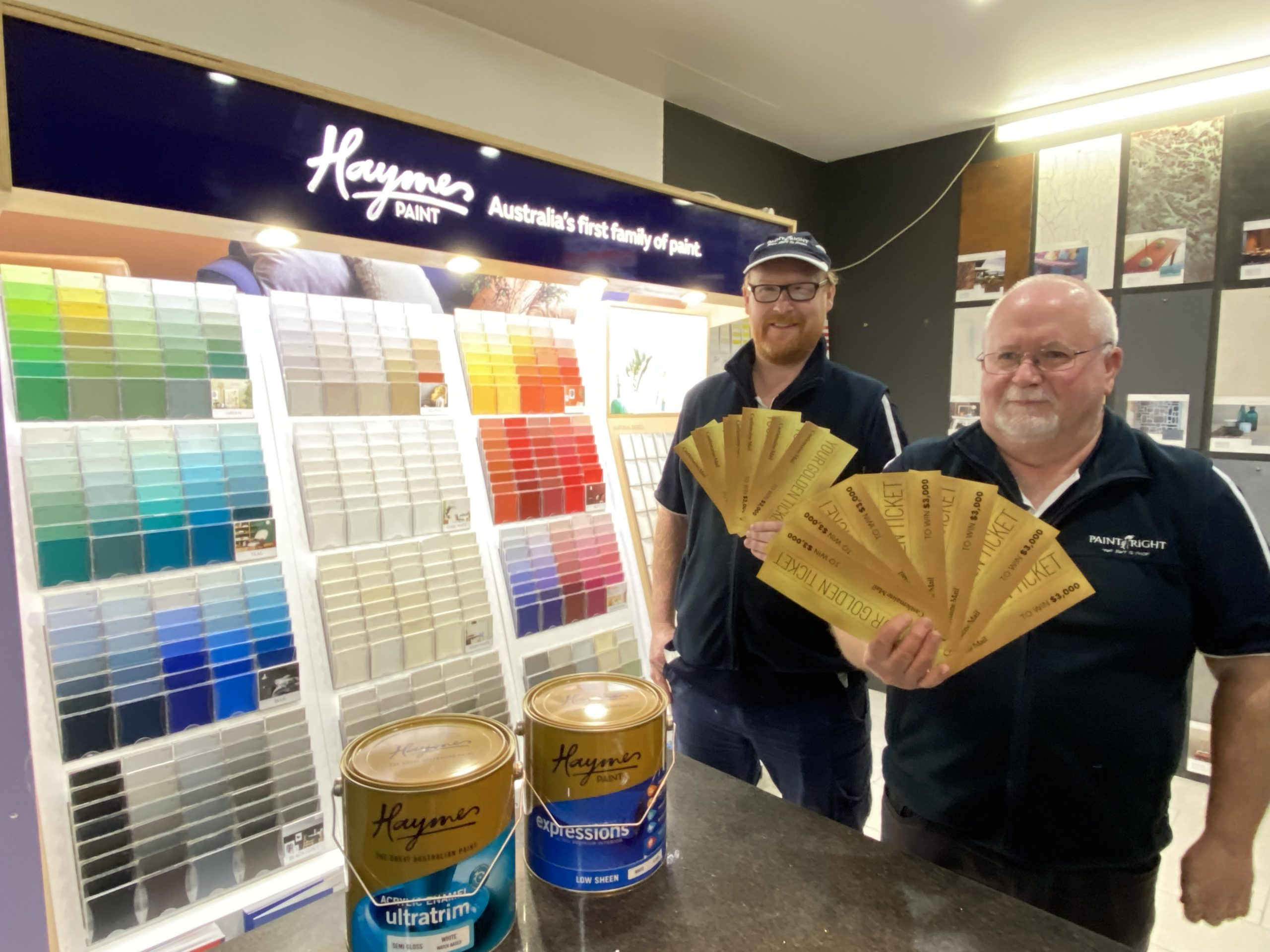 Scott Berry and Rod Entwisle of Dales Discounts are excited to be part of the Golden Ticket buy local promotion. Get in an see the local experts for all your paint and tile needs.