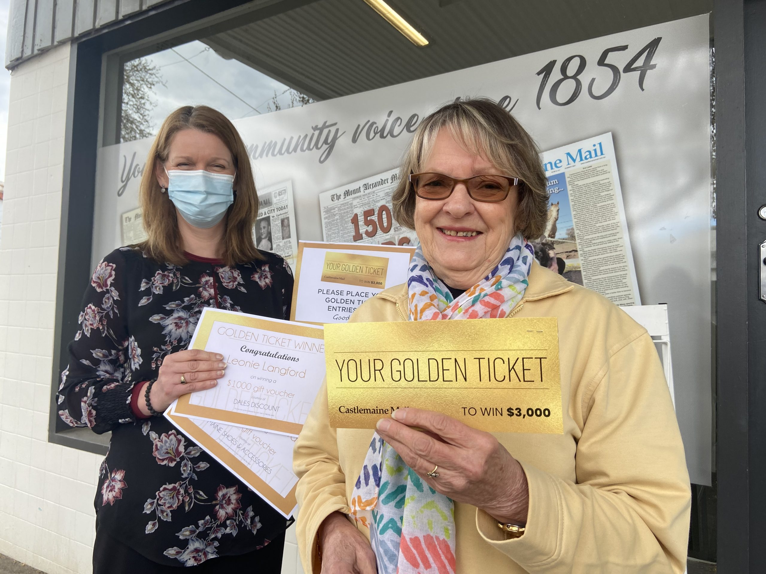 Castlemaine Mail advertising representative Tammy Harman is pictured with our lucky Golden Ticket winner Leonie Langford.