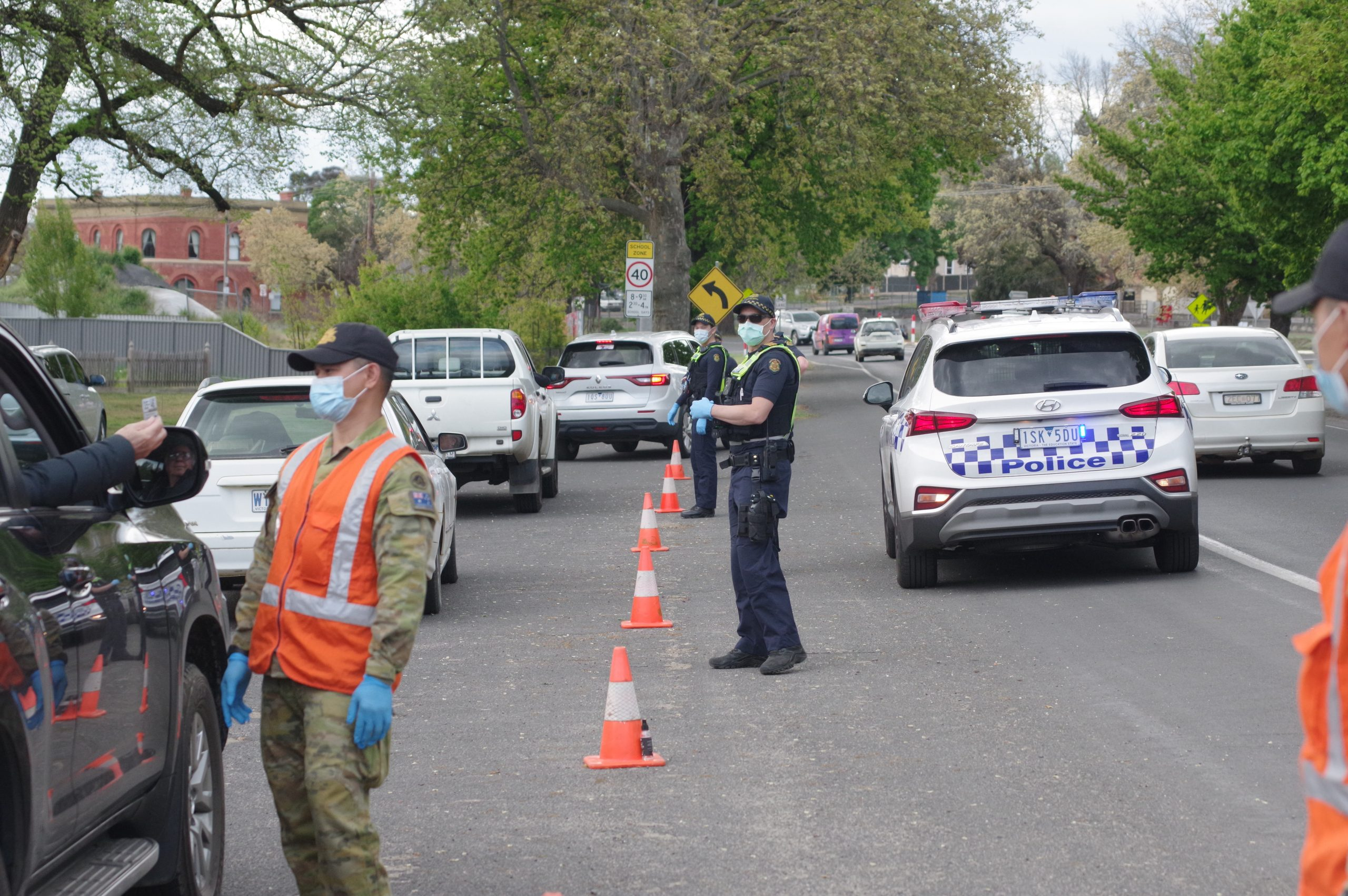 Police and Army representatives were doing ID checks yesterday. Photo: Max Lesser.